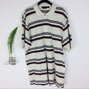 Nautica Casual Striped Collared Shirt Size (L)
